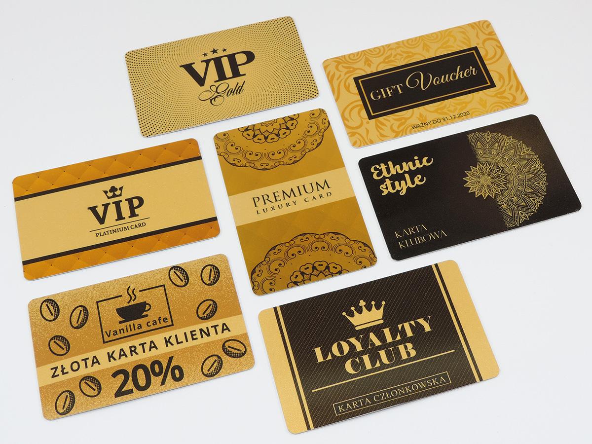 złote karty plastikowe PCV wizytówki podarunkowe klienta złota karta